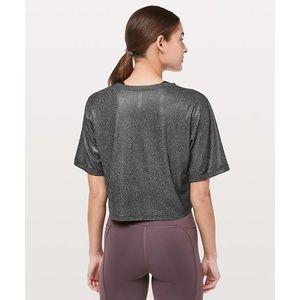 lululemon athletica Tops - Lulu To The Beat Tee Luminosity Foil Grey Crop Top